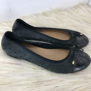 Clarks Indigo cutout soft leather flats black 8.5